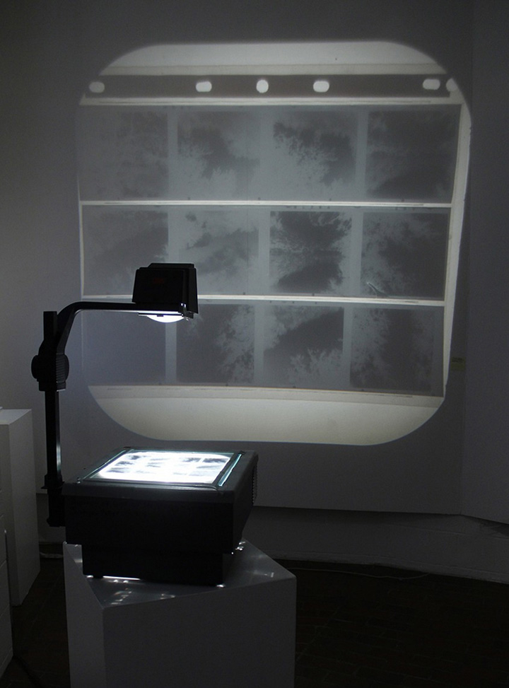 Jamie Hahn, installation, Eastern Washington University Art Gallery, 2013, overhead projector, 120mm film