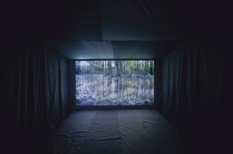 "Jamie Hahn, ""One Reflect One: Indiana"", 54:33, video installation, interior, Figure Ground Rhythm thesis exhibition, 2010, Alfred University"