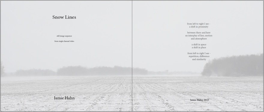 Snow Lines, artist book, 11x14, 79 pages, Jamie Hahn, 2015, sequence from single channel video